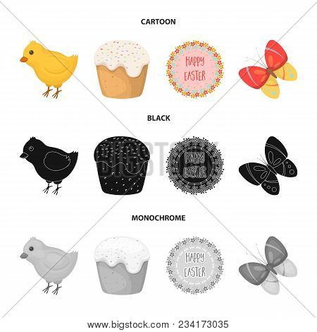 Easter Cake, Chicken, Butterfly And Greeting Sign.easter Set Collection Icons In Cartoon, Black, Mon