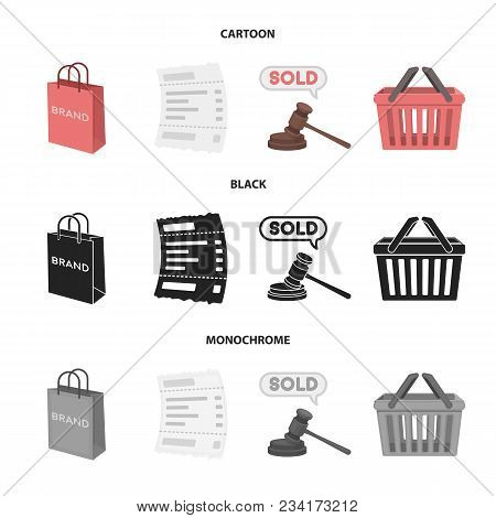 Bag And Paper, Check, Calculation And Other Equipment. E Commerce Set Collection Icons In Cartoon, B