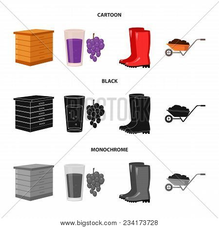 Hive, Grapes, Boots, Wheelbarrow.farm Set Collection Icons In Cartoon, Black, Monochrome Style Vecto