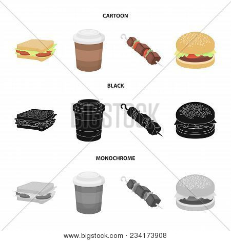 Sandwich, Coffee, Shish Kebab, Burger.fast Food Set Collection Icons In Cartoon, Black, Monochrome S
