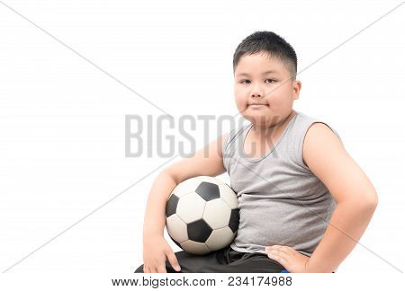 Obese Fat Boy Holding Football Isolated Over White