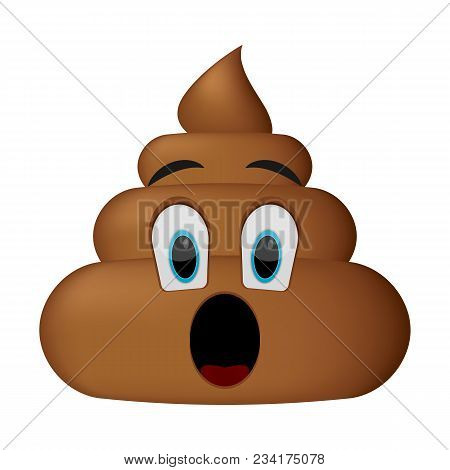 Shit Icon, Surprise Face, Poop Emoticon Isolated On White Background.