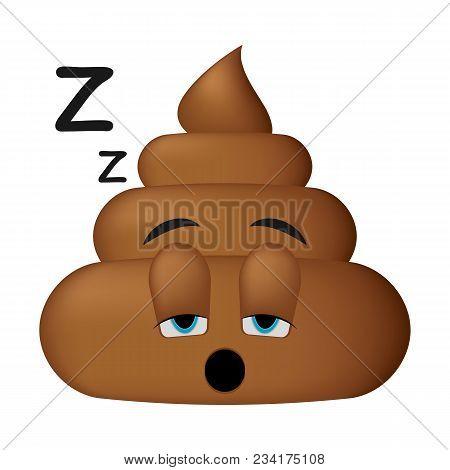 Shit Icon, Sleep Face, Poop Emoticon Isolated On White Background.