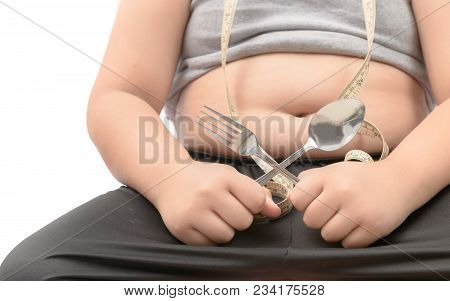 Obese Fat Boy Holding Fork And Spoon Isolated Over White, Diet To Lose Weight And Healthy Concept