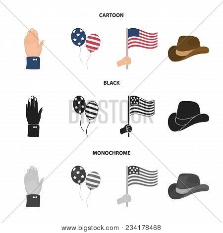 Balloons, National Flag, Cowboy Hat, Palm Hand.patriot Day Set Collection Icons In Cartoon, Black, M