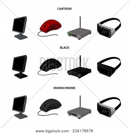 Monitor, Mouse And Other Equipment. Personal Computer Set Collection Icons In Cartoon, Black, Monoch