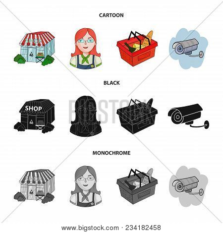 Salesman, Woman, Basket, Plastic .supermarket Set Collection Icons In Cartoon, Black, Monochrome Sty