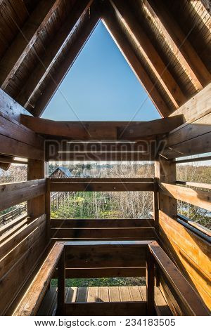 Bird Observation Tower Interior At Lagoon Park Of Pateira De Fermentelos, Portugal.