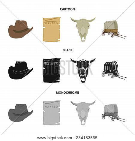 Cowboy Hat, Is Searched, Cart, Bull Skull. Wild West Set Collection Icons In Cartoon, Black, Monochr
