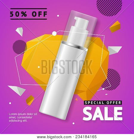 Cosmetic Bottle Sale Banner Banner Card Package For Spray Or Shampoo. Vector Illustration Of Special