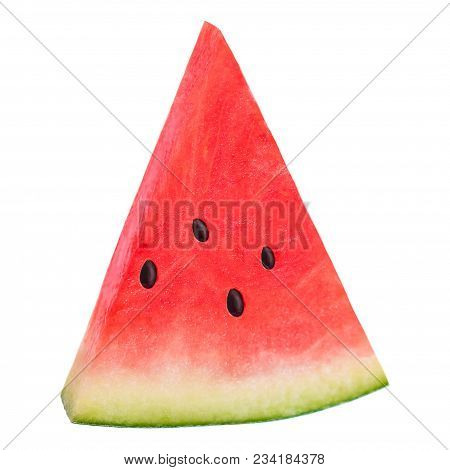 Isolated Watermelon. Sliced Ripe Watermelon Isolated On White Background, Close Up
