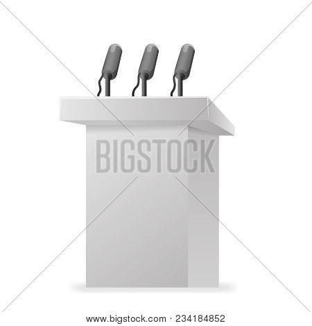 Hustings Tribune Rostrum Performance Politician Microphone Design Vector Illustration