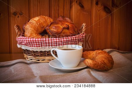 Breakfast With Fresh Baked Croissants, Buns And Coffee. Selective Focus.