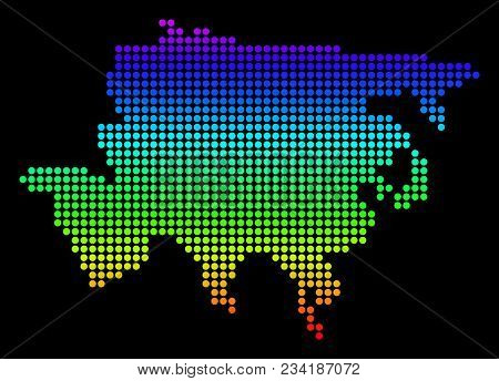 Spectrum Dotted Pixelated Asia Map. Vector Geographic Map In Bright Colors On A Black Background. Co
