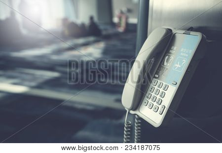 Close Up Of Internal Phone Or Information Telephone Hanging On A Pole In The International Airport F