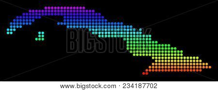 Spectrum Dotted Pixel Cuba Map. Vector Geographic Map In Bright Colors On A Black Background. Colore