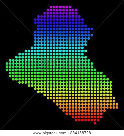 Spectrum Dotted Pixel Iraq Map. Vector Geographic Map In Bright Colors On A Black Background. Color