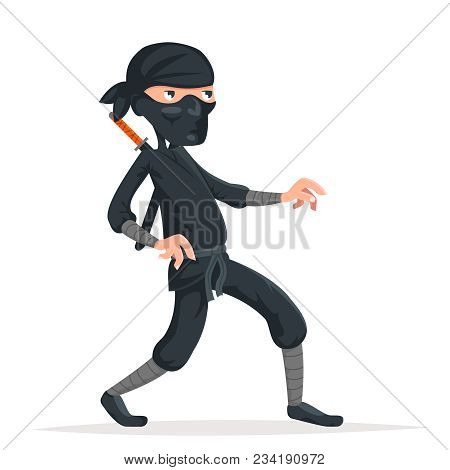 Ninja Thief Sneak Walk Sword Assassin Asian Japanese Cartoon Character Vector Illustration