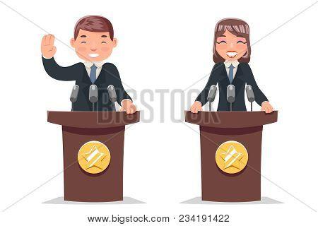 Politician Tribune Performance Businessman Businesswoman Cartoon Character Design Vector Illustratio