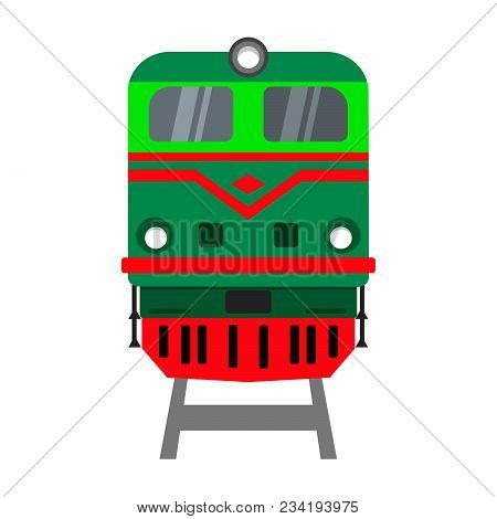 Locomotive On White Background. Front View. Vector Illustration