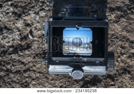 View On The Mountain Scenery Through The Viewfinder Of The Old Camera Photo. Photo Of The Old School