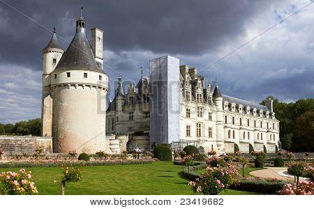 Panoramic View Of Castle Chateau De Chenonceau