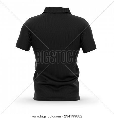 Men's polo shirt with short sleeves. Back view. 3d rendering. Clipping paths included: whole object, collar, sleeve.