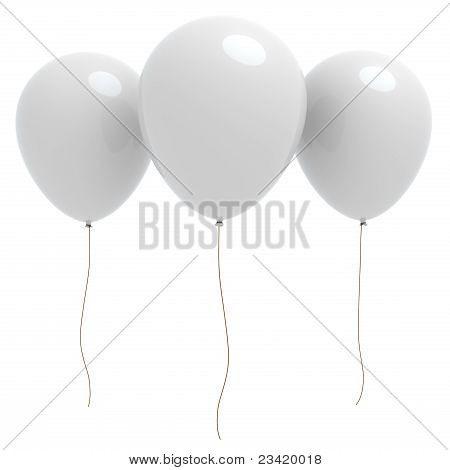 Three 3D White Balloons With Copyspace