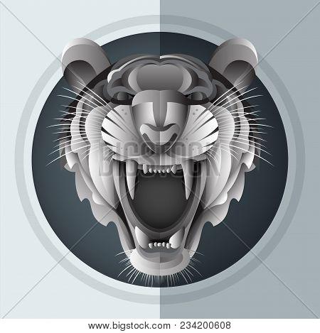 Illustrator Of Growl Siberian Tiger In Paper Art Style