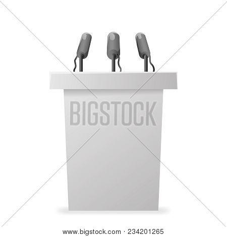 White Hustings Tribune Rostrum Politician Performance Microphone Vector Design Illustration