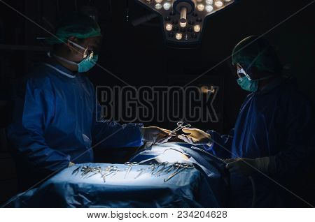 Doctor And Assistant Surgeon Sending Surgical Instrument To Hand Work For Rescue Patient In Operatio