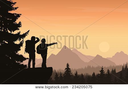 Vector Illustration Of A Mountain Landscape With A Forest And Two Tourists, Man And Woman With Backp