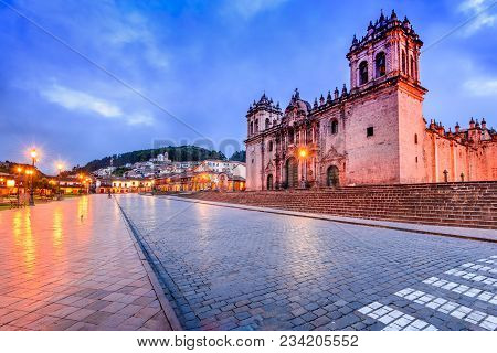 Cusco, Peru - Plaza De Armas And Catedral Del Cuzco. Andes Mountains, South America.