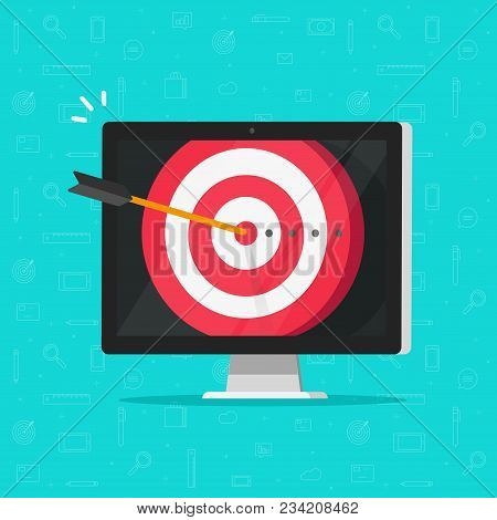 Target Aim With Arrow In Bullseye On Computer Display Vector, Concept Of Success Business Goal, Digi