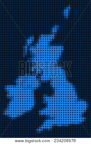 Dotted Pixel Great Britain And Ireland Map. Vector Geographic Map In Blue Colors. Vector Pattern Of
