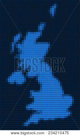 Dotted Pixel United Kingdom Map. Vector Geographic Map In Blue Colors. Vector Composition Of United
