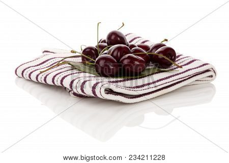 Delicious Cherries On Cloth With Reflection Isolated On White Background.