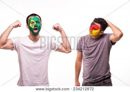 Happy Football Fan Of Brazil Celebrate Win Over Upset Football Fan Of Germany National Teams With Pa