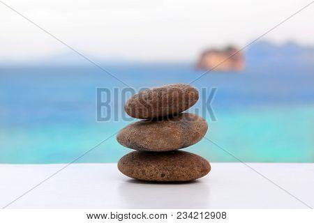 Zen Like Pebble Crain On Tropical Beach. Zen, Simplicity, Spirituality And Balance Concept.