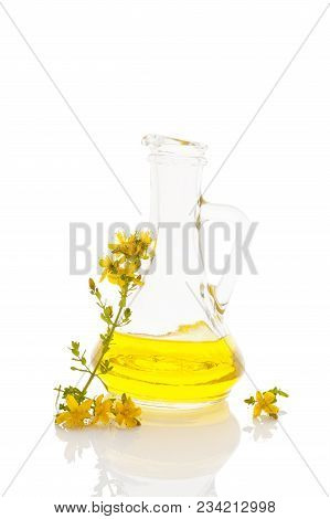 St.john's Wort Oil In Glass Jar