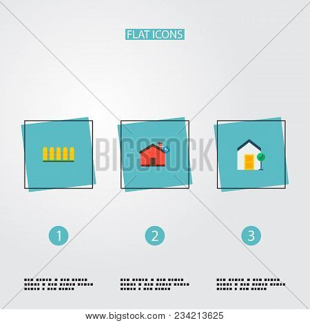Set Of Property Icons Flat Style Symbols With Good Property, Fence, Mortgage And Other Icons For You
