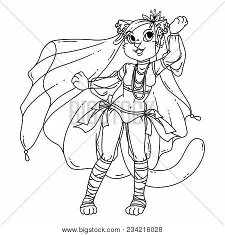 Cute Cat Woman Belly Dancer. Vector Illustration Isolated On White Background. Illustration For Colo