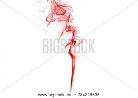 Red Smoke On A White Background, Abstract Red Smoke Swirls Over White Background, Fire Smoke, Red In