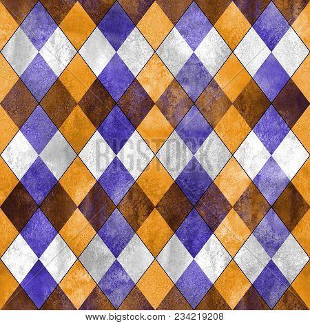 Argyle Seamless Plaid Pattern. Watercolor Hand Drawn Purple Lilac Gray Orange Texture Background. Wa