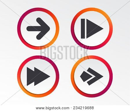 Arrow Icons. Next Navigation Arrowhead Signs. Direction Symbols. Infographic Design Buttons. Circle