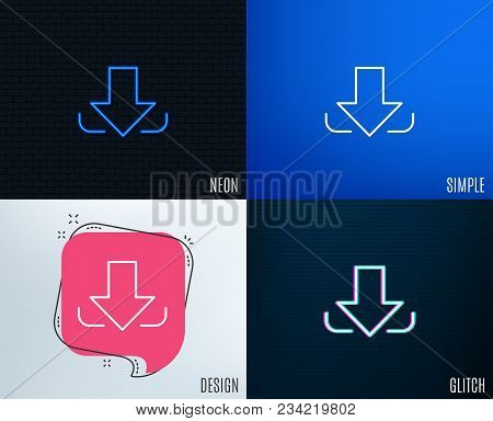 Glitch, Neon Effect. Download Arrow Line Icon. Down Arrowhead Symbol. Direction Or Pointer Sign. Tre