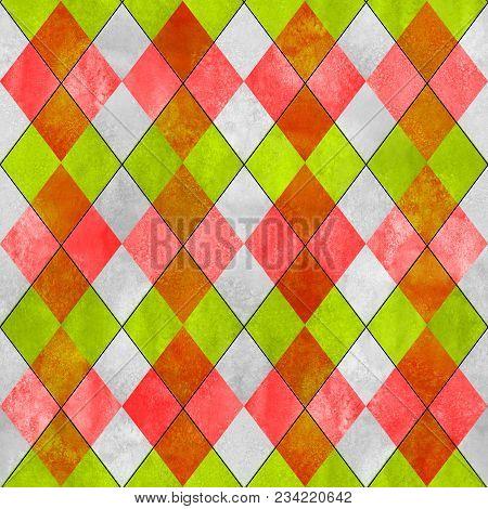 Argyle Seamless Plaid Pattern. Watercolor Hand Drawn Gray Orange Lemon Green Texture Background. Wat