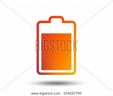 Battery Level Sign Icon. Electricity Symbol. Blurred Gradient Design Element. Vivid Graphic Flat Ico