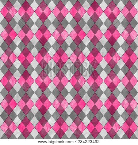 Argyle Seamless Plaid Pattern. Watercolor Hand Drawn Gray And Pink Texture Background. Watercolour D