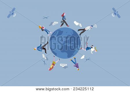 Group Of Working People Traveling Along The Earth Globe. Conceptual Illustration Metaphor Of Globali